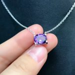 DJ CH 10x8MM Natural Brazil Amethyst Crystal Pendant with Chain, Solid 925 Sterling <b>Silver</b> Charm Oval Cut Purple <b>Jewelry</b> for her