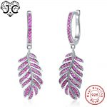 J.C For Female Exquisite Leaf Style Round Cut Ruby Red Topaz Delicate <b>Earrings</b> Real 925 Sterling <b>Silver</b> <b>Earrings</b> Fine Jewelry