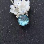 Natural blue topaz stone Necklace natural gemstone Pendant Necklace S925 <b>silver</b> trendy luxurious big round women party <b>Jewelry</b>