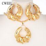 CWEEL Nigerian Beads <b>Jewelry</b> Set Bridesmaid African Wedding <b>Jewelry</b> Women Copper Dubai <b>Jewelry</b> Sets Gold Color Costume Jewellery