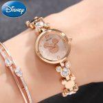 Mickey Mouse Bling Rhinestone Luxury Ladies Trendy <b>Bracelet</b> Gold <b>Silver</b> Steel Watches Disney Women Dress Beautiful Crystal Clock