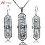 Brand New 2017 Fashion Light Blue Cubic Zirconia Crystal Real 925 Sterling <b>Silver</b> Jewelry Sets For Women Vintage Handmade Gifts