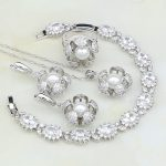 Flower White Imitation Pearl Cubic Zirconia 925 Silver <b>Jewelry</b> Set For Women Wedding Bracelet/Earrings/Ring/Pendant/<b>Necklace</b>