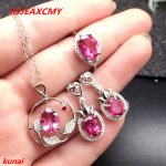 KJJEAXCMY boutique jewels 925 <b>silver</b> inlay natural Pink Topaz Ring Pendant <b>Earrings</b> 3 suit jewelry necklace sent