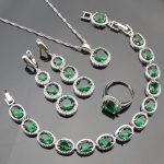 Bridal Jewelery Women Sliver 925 Costume <b>Jewelry</b> Sets Green Zircon Bracelet Pendant Necklace Rings Earrings With Stones Gift Box