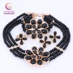 Wholesale <b>Handmade</b> 2017 Nigerian Wedding African Beads <b>Jewelry</b> Set Gold-color Crystal Beads Necklace <b>Jewelry</b> Set Free Shipping