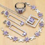 Natural <b>Silver</b> 925 Jewelry Sets Purple CZ White Crystal Decoration For Women Earrings/Pendant/ Rings/<b>Bracelet</b>/Necklace Set