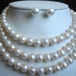 Prett Lovely Women's Wedding Beautiful 9-10MM White Freshwater Cultured Pearl Necklace earrings set 50″