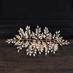 Trendy Gold Color Leaf Bridal Crystal Headpiece for Wedding Hair Accessories <b>Handmade</b> Hair <b>Jewelry</b> Headband tiara Decoration