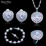 Fashion 925 Mark <b>Silver</b> Color Bridal <b>Bracelets</b> Necklace Earring Ring Set Cubic Zircon Wedding Jewelry Set Women Party Daily Gift