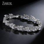 ZAKOL High Quality Clear White Cubic Zirconia Leaf Pattern Bracelets Bangles For Women Girl Gift <b>Fashion</b> Wedding <b>Jewelry</b> FSBP001