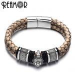 REAMOR 316l Stainless Steel Thailand Buddha Head Bracelets Bangles Brown Weave Leather Bracelet With Magnetic Clasp Men <b>Jewelry</b>