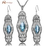 Fashion Blue Rhinestone Crystal Jewelry Sets Vintage Party Pendant&<b>Earrings</b> Real 925 Sterling <b>Silver</b> Fine Jewelry for Women