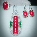 Yu Xin Yuan Fine 925 Mosaic Natural Red Bamboo SectionChalcedony Pendant Ring <b>Earrings</b> Jewelry Suit