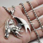 Huge Flying Dragon Solid 925 Sterling <b>Silver</b> Mens Rocker Pendant 8B007(<b>Necklace</b> 24inch)