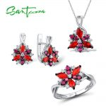 <b>Silver</b> Flower <b>Jewelry</b> Set Natural Red Cubic Zirconia Stones Ring Earrings Pendant Set 925 <b>Sterling</b> <b>Silver</b> Fashion <b>Jewelry</b> Set