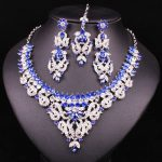 Fashion Indian Style Crystal Rhinestones <b>Necklace</b> Earrings Set Silver Plated Bridal <b>Jewelry</b> Sets Jewellery Christmas Gift Women