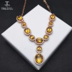"""TBJ, """"Party Queen""""Natural Gemstone <b>Necklace</b> with natural citrine in 925 sterling <b>silver</b> rose gold color for lady with gift box"""