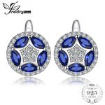JewelryPalace Flower 1.12 ct Marquise Created Blue Spinels Clip Earrings For Women Solid 925 Sterling <b>Silver</b> Fashion <b>Jewelry</b>