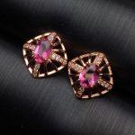 natural red tourmaline stud <b>earrings</b> S925 <b>silver</b> natural gemstone <b>earrings</b> Cute Square hollowing women party <b>Earrings</b> jewelry