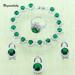 Reginababy Green created Emerald Wedding Jewelry Set For Women <b>Silver</b> color Crystal Necklace/ <b>Bracelets</b>/Earrings/Ring