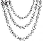 WK NEW Engraved Beads Chain <b>Necklace</b> 925 Sterling <b>Silver</b> Beaded Ball Boys Men Male Chains Collar Solid S925 4MM 5MM 6MM W1 NM017