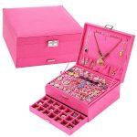 Large Best Selling <b>Fashion</b> Flannel Square <b>Jewelry</b> Box Simple 3 Layers Makeup Organizer Ring Necklace <b>Jewelry</b> Storage Box