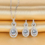 Bella Fashion 925 Sterling <b>Silver</b> Infinity Bridal Necklace <b>Earrings</b> Set Cubic Zircon Wedding Party Jewelry Set Party Daily Gift