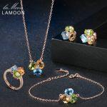 LAMOON Yellow Citrine Green Peridot Blue Topaz S925 Sterling <b>Silver</b> Fine jewelry Women Luxury Wedding Bridal Jewelry Sets V003-1