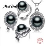[MeiBaPJ]925 <b>Silver</b> top quality 100% genuine black freshwater pearl pendant <b>necklace</b> and earrings jewelry sets for women