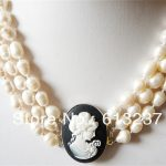 Newly style 3 rows 8-9mm fashion white pearl carved girl <b>making</b> necklace 17-19″ MY4587