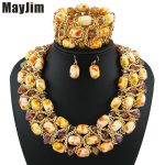 Statement necklace fashion <b>jewelry</b> sets <b>Handmade</b> gold chain yellows african nigerian crystal bead dubai <b>jewelry</b> sets Vintage