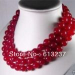 Fashion 10mm red natural stone dyed chalcedony jades long chain strand round beads necklace for women <b>jewelry</b> <b>making</b> 50″ YE2068