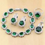 925 <b>Silver</b> Jewelry Green Zircon White CZ Jewelry Sets For Women Earrings/Pendant/Necklace/Rings/<b>Bracelet</b> T225