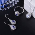 Natural blue tanzanite gem jewelry sets natural gemstone Pendant ring <b>Earrings</b> 925 <b>silver</b> Water drop women party fine jewelry