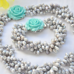 Wedding Woman <b>jewelry</b> Set 4 Strands 10mm Gray Natural Freshwater Pearl Choker Necklace Bracelet Green Rose Clasp <b>Handmade</b>