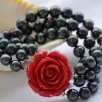 FREE SHIPPING>> 3row 8″ black round freshwater pearl <b>bracelet</b>