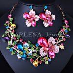 Multicolor Crystal Rhinestone Flower Necklace Earrings Set for Women <b>Wedding</b> Luxury Bridal <b>Jewelry</b> sets