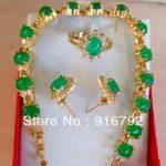 Prett Lovely Women's Wedding Wholesale Charming Set <b>Jewelry</b> Real Green gem Bracelet Earring Ring silver <b>jewelry</b> boucle
