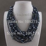 Amazing! 20rows pearl <b>necklace</b> AA 7-8MM Dark blue color Genuine freshwater pearl Fashion woman's jewelry Free shipping A2547