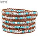KELITCH <b>Jewelry</b> 1Pc Bohemian Multicolor Synthetic Stone Bead Brown Leather Chain 5 Wrap Weave <b>Handmade</b> Charm Bracelet Nice Packs