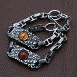 S925 Sterling <b>Silver</b> <b>Bracelet</b> & Bangle Retro Thai <b>Silver</b> Men's Personality <b>Silver</b> Chain Soren Eye Band <b>Bracelet</b> 20cm