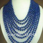 New fashion 8 rows 6mm blue lapis lazuli round beads chain strand necklace for women elegant <b>jewelry</b> <b>making</b> 17-24inch MY2072