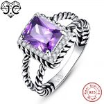 J.C Engagement Women Fine <b>Jewelry</b> Amethyst & Tanzanite & White Topaz Solitaire Solid 925 Sterling <b>Silver</b> Ring Size 6 7 8 9