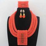 Luxurious Orange Coral Beads <b>Jewelry</b> Sets <b>Handmade</b> African Wedding Bridal/Women Beads Necklace <b>Jewelry</b> Set Free Shipping HD8602
