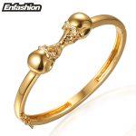 Enfashion <b>Jewelry</b> Double Skull Bracelet Noeud armband Gold Color Bangle Bracelet For Women Cuff Bracelets Manchette Bangles