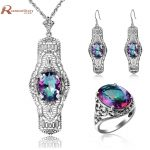 Victorian Vintage Jewelry Set Rainbow Mystic Colorful Crystal Soild 925 Sterling <b>Silver</b> Wedding Jewelry Sets For Bride Gift