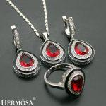 Hermosa Jewelry NEW Cubic Zircon Micro Red Drop Garnet 925 Sterling <b>Silver</b> Women <b>Necklace</b> + Earrings + Rings 18 inches/8#