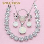 Simple style Round White Create Opal 925 <b>Silver</b> Jewelry Sets For Women Necklace Earrings Ring <b>Bracelet</b> Free Box WPAITKYS