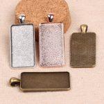 onwear 20pcs fit 19x38mm cabochon base rectange cameo setting rose gold/<b>antique</b> bronze/<b>antique</b> silver diy <b>jewelry</b> bezel trays